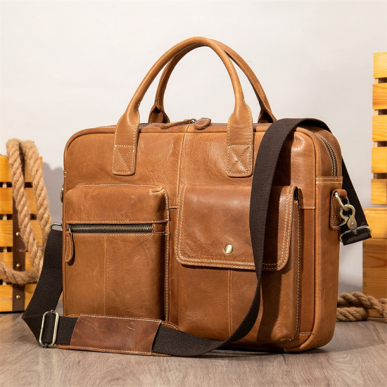 Cowhide Leather Hand/shoulder/crossbody men laptop bag