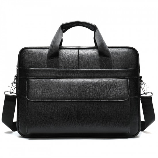 Black premium leather minimalist laptop bag with extra pockets