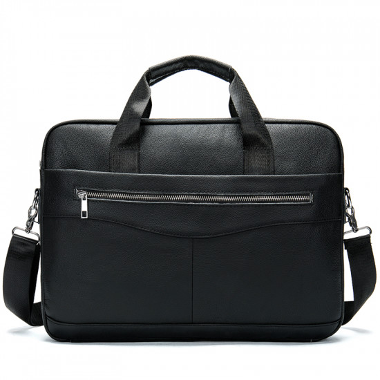 Black premium business leather laptop bag with extra pockets