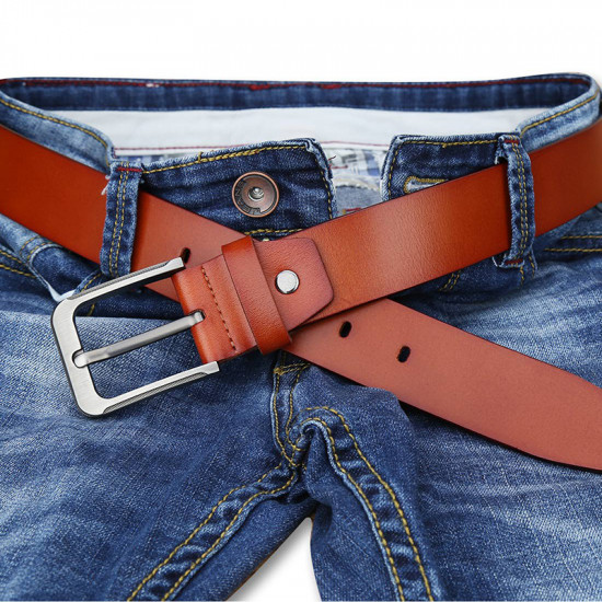 Brown genuine leather belt