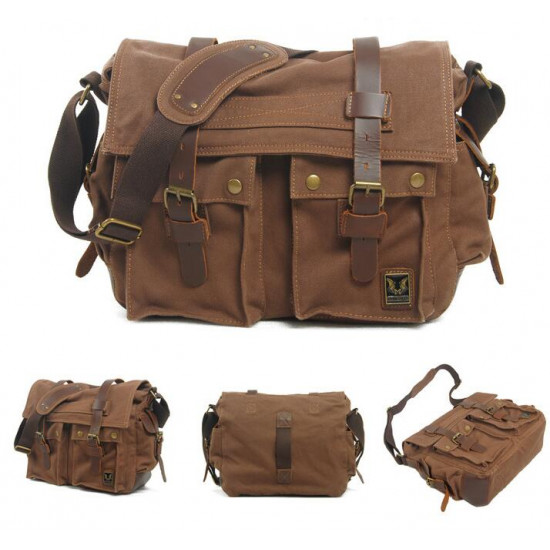 High Quality Vintage Canvas Bag (Dark Brown)