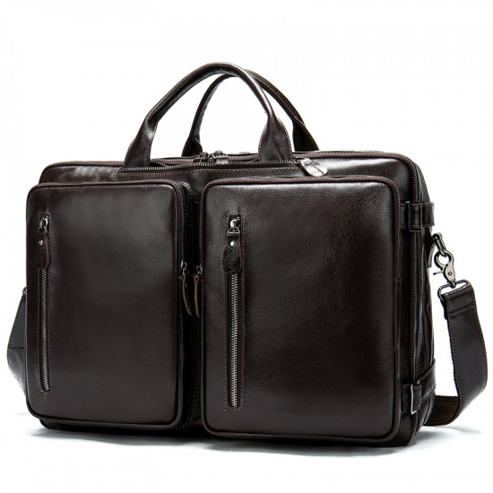 Genuine Leather Laptop bag / Briefcase with backpack combo