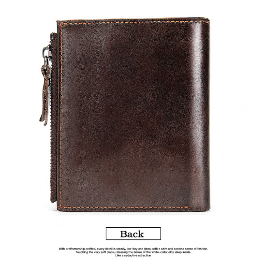 Coffee brown Smooth Leather Wallet with safety chain