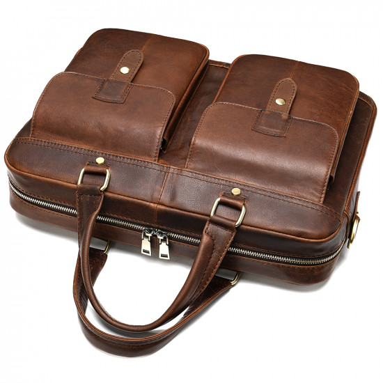 Dark brown 15 inch laptop leather bag with multiple pockets for documents other accessories.