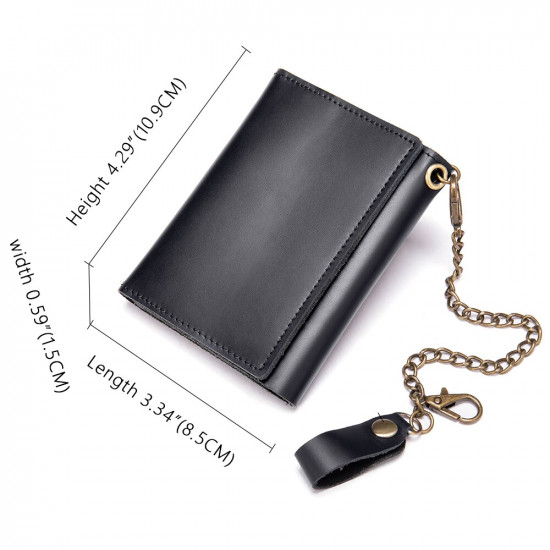 Black Smooth Leather Wallet with coin pocket purse with antitheft chain