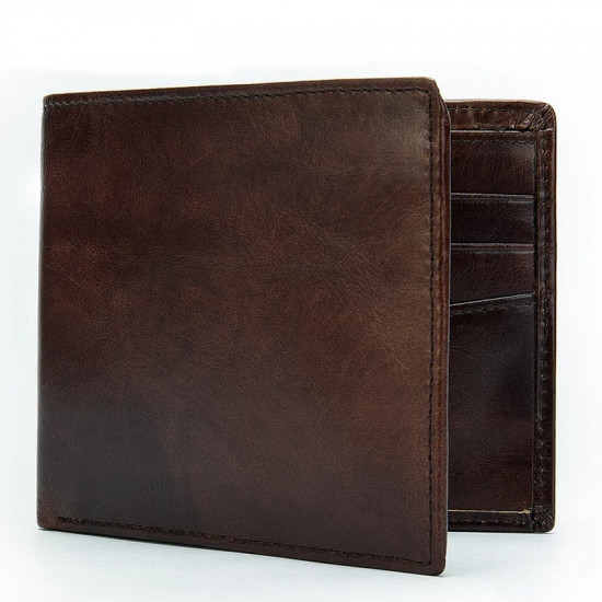 Durable Real Leather Bi-fold Wallet for Men