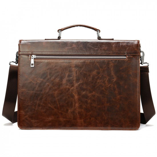 Premium leather briefcase laptop bag with extra pockets
