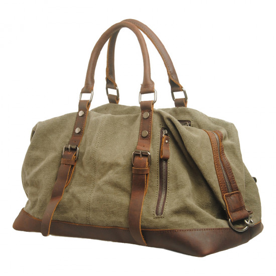 Leather and canvas duffel bag, vintage canvas travel bag, gym bag