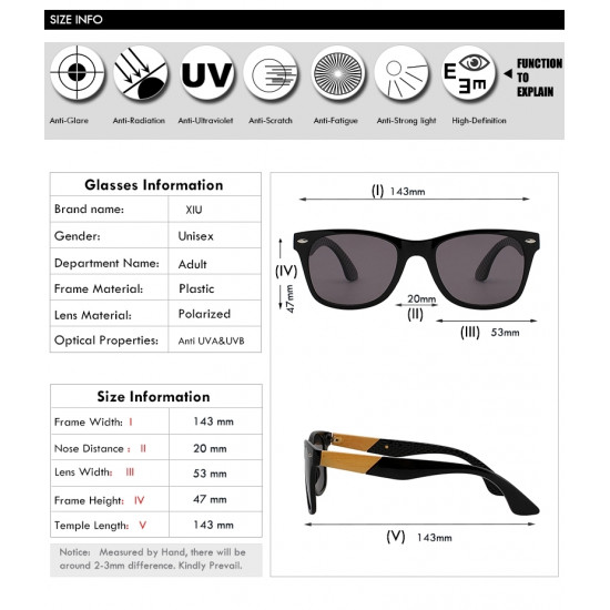 Wayfarer Design Men Fashion UV 400 Polarization Sunglasses
