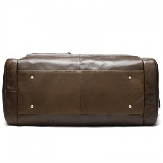Coffee Premium Leather Duffel Gym Bag