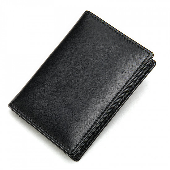 Minimalist black Leather Wallet