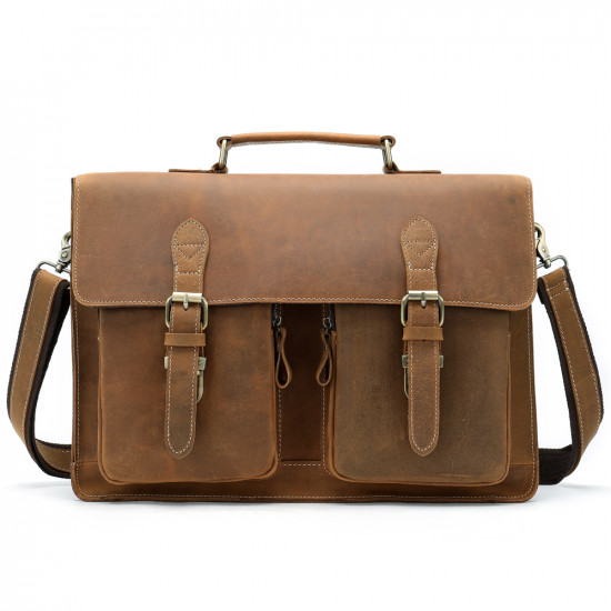 Vintage genuine leather laptop bag and briefcase