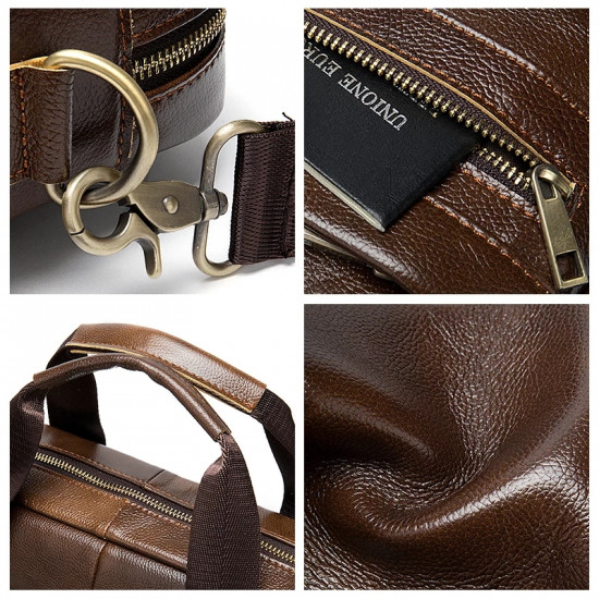 Natural Leather Hand and cross body men leather laptop bag