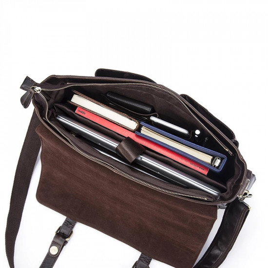 Westal brand Cowhide Leather Hand/shoulder/crossbody men laptop bag