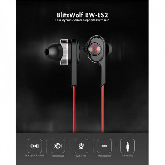 BlitzWolf BW-ES2 Dual Dynamic Driver Wired Earphones With Mic