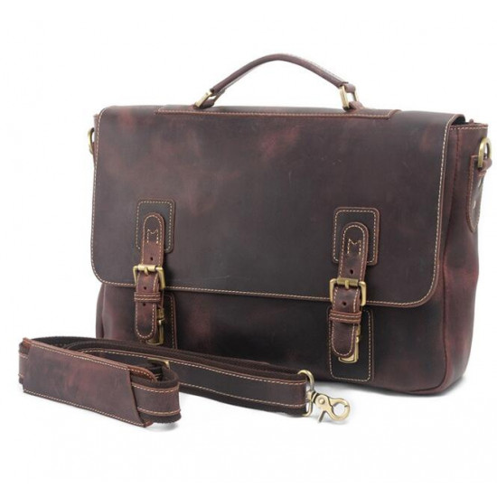 Genuine Leather Hand and shoulder laptop bag