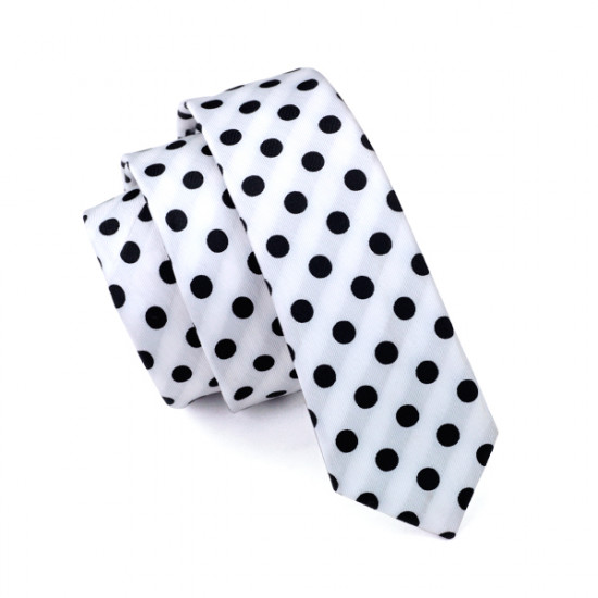 Polka Dots white Men's Necktie