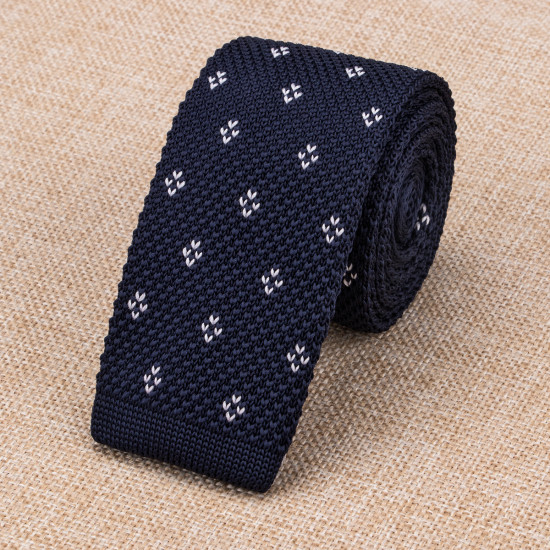 Navy Blue flowered Knitted Ties