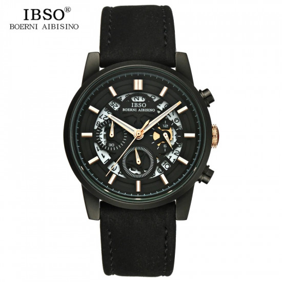 Men IBSO watch with leather Strap